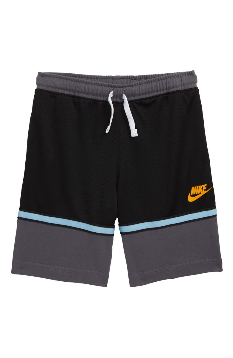 NIKE Just Do It Two-Tone Mesh Athletic Shorts, Main, color, BLACK