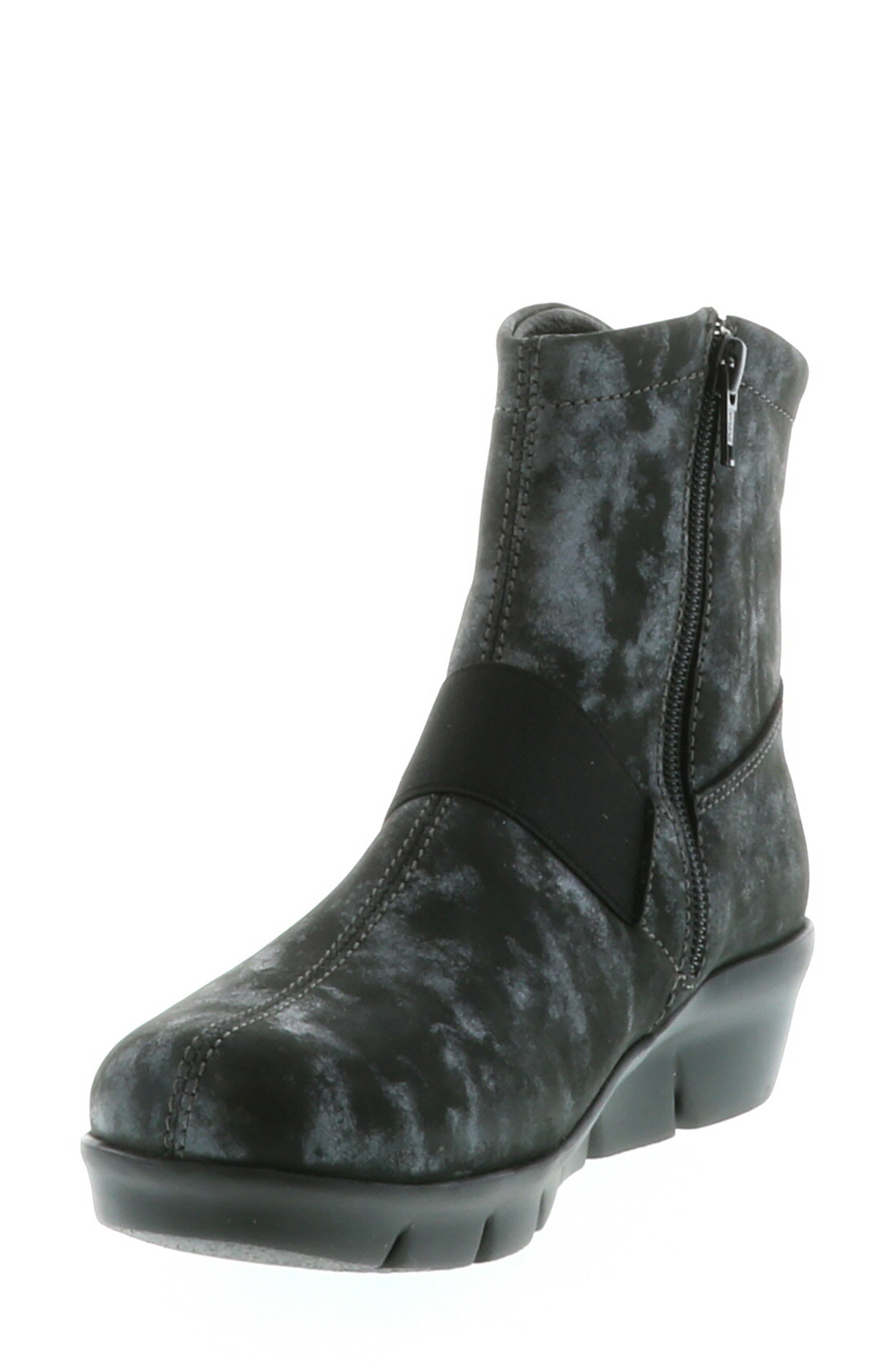,                             Omni Wedge Bootie,                             Alternate thumbnail 9, color,                             BLACK NUBUCK LEATHER