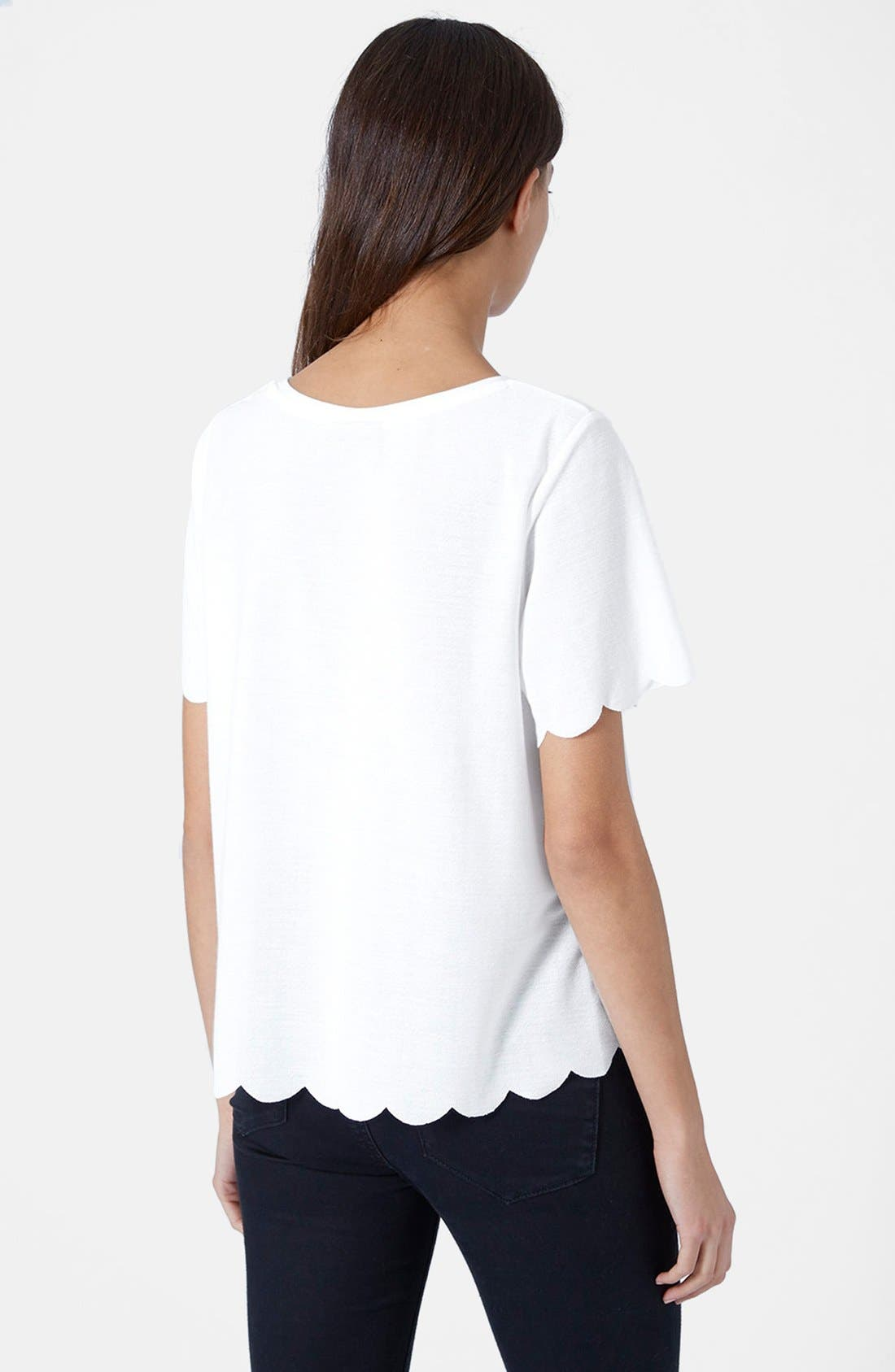 ,                             Scallop Frill Tee,                             Alternate thumbnail 9, color,                             100