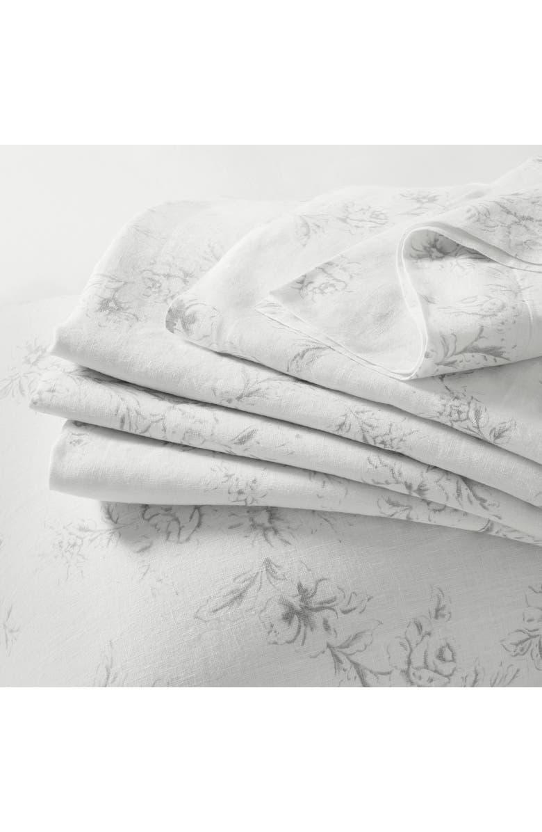 THE WHITE COMPANY Emilie Linen Flat Sheet, Main, color, 100