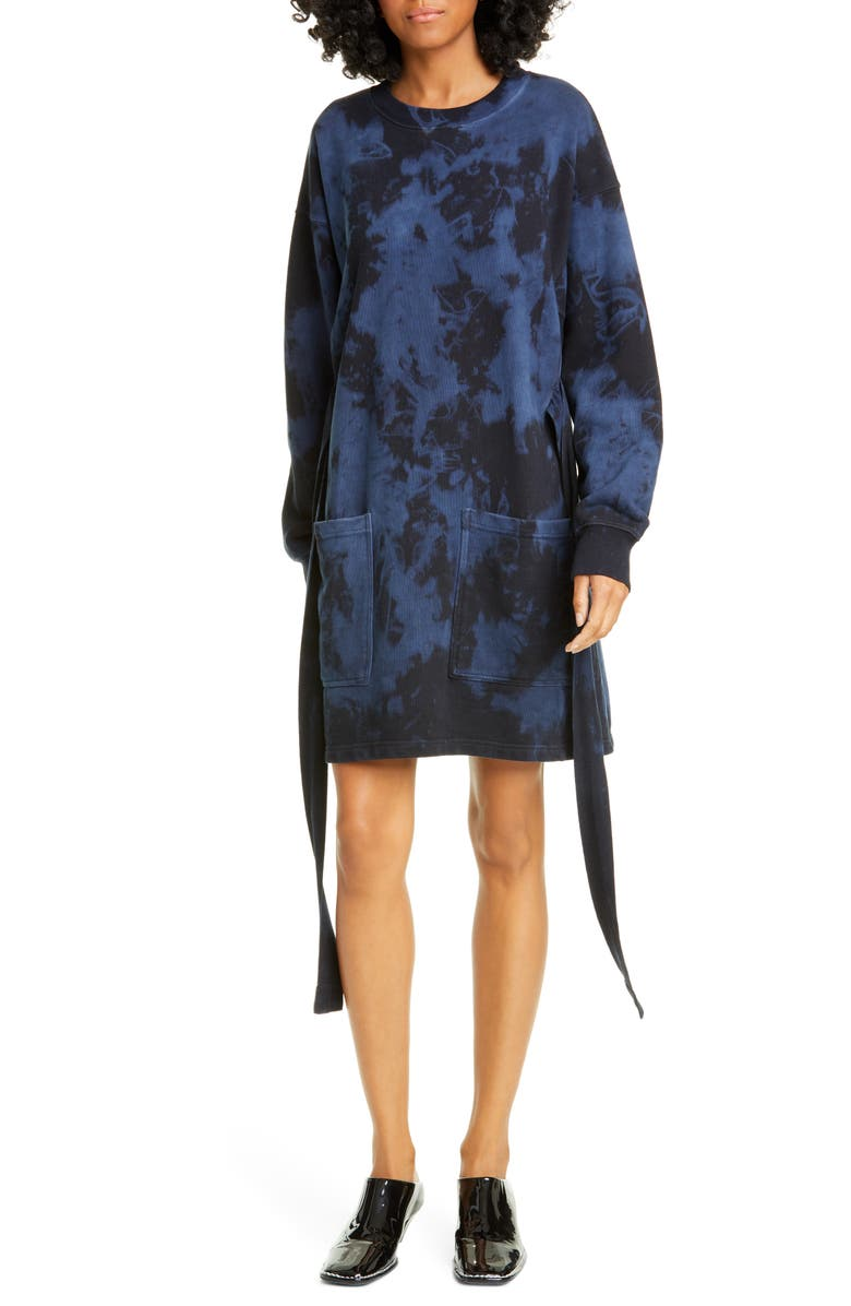 PROENZA SCHOULER WHITE LABEL Tie Dye Long Sleeve Sweatshirt Dress, Main, color, 400