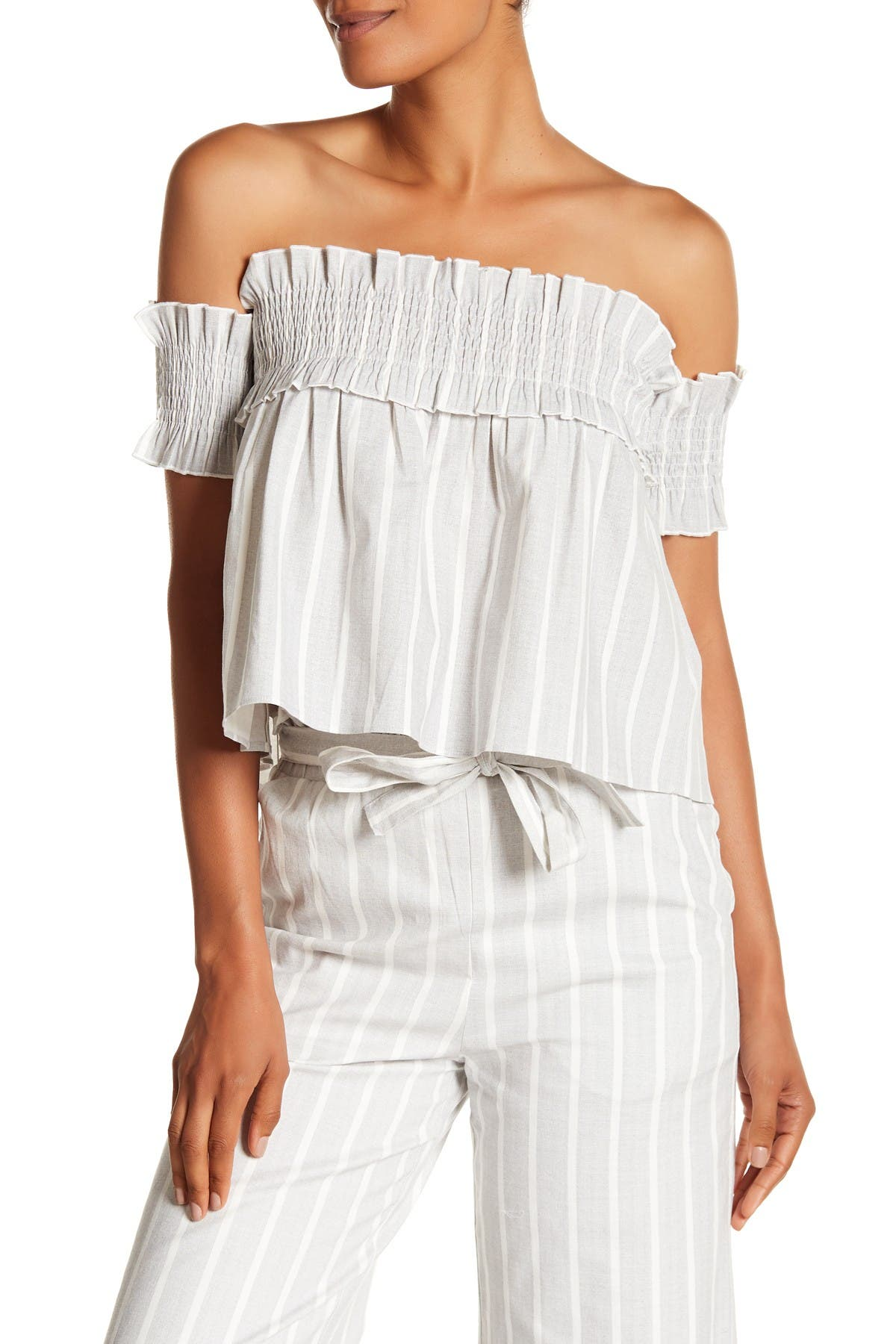 Image of English Factory Striped Smocked Off-the-Shoulder Top