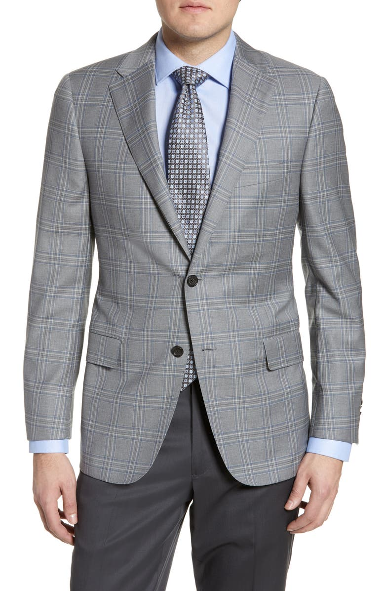 HICKEY FREEMAN Classic Fit Plaid Wool Sport Coat, Main, color, PEWTER GREY