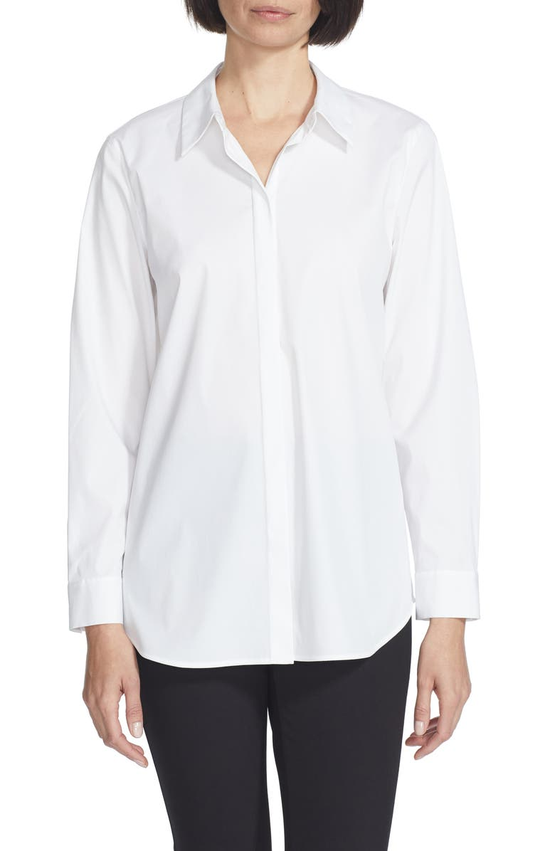 LAFAYETTE 148 NEW YORK Brody Cotton Blend Shirt, Main, color, WHITE