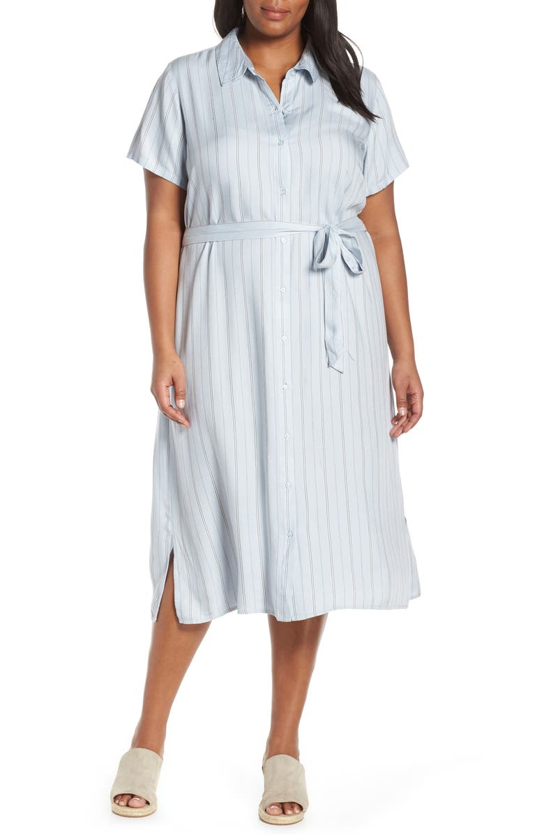 SEVEN7 Perfect Midi Shirtdress, Main, color, PLEIN AIR STRIPE COMBO