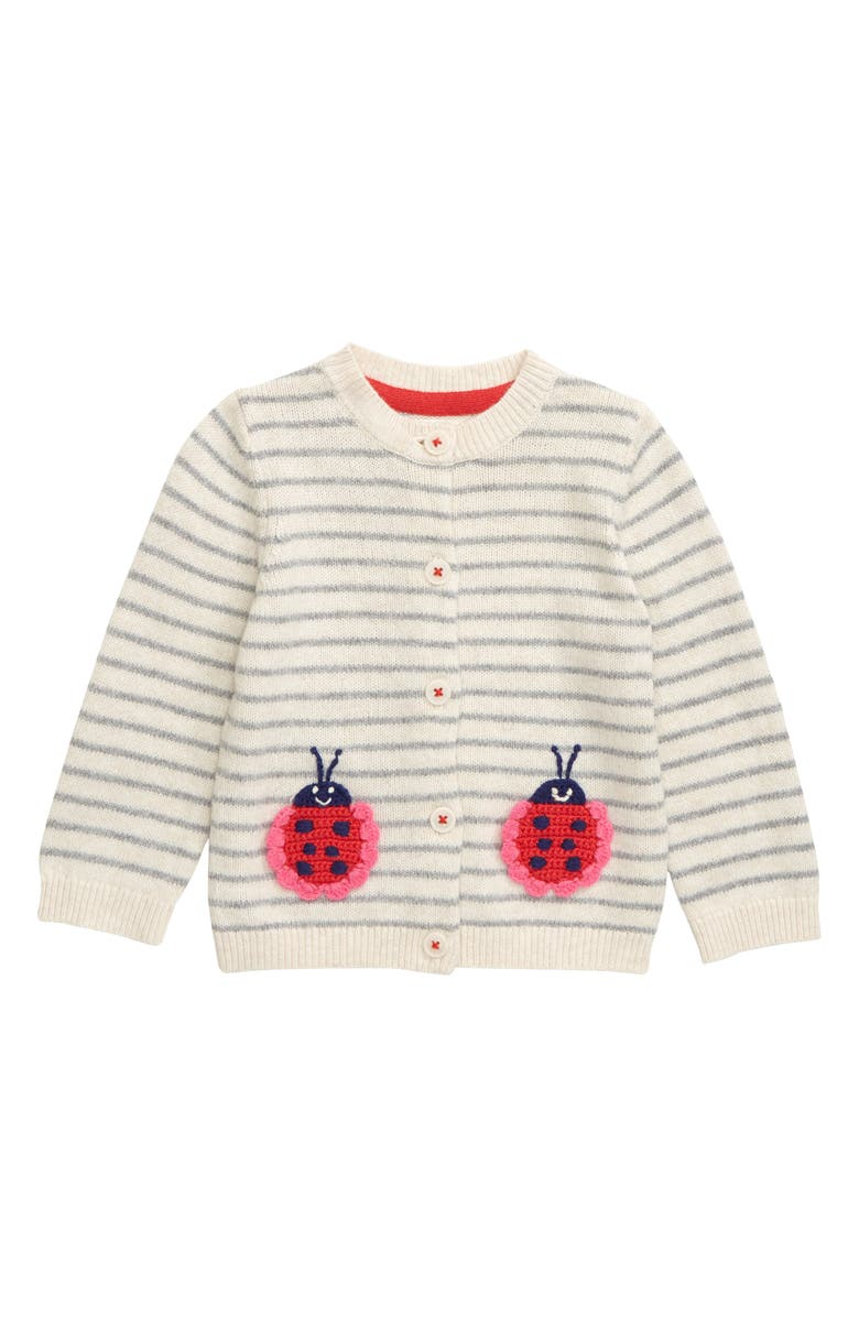 MINI BODEN Embroidered Cardigan, Main, color, ECRU MARL/ LADYBUGS