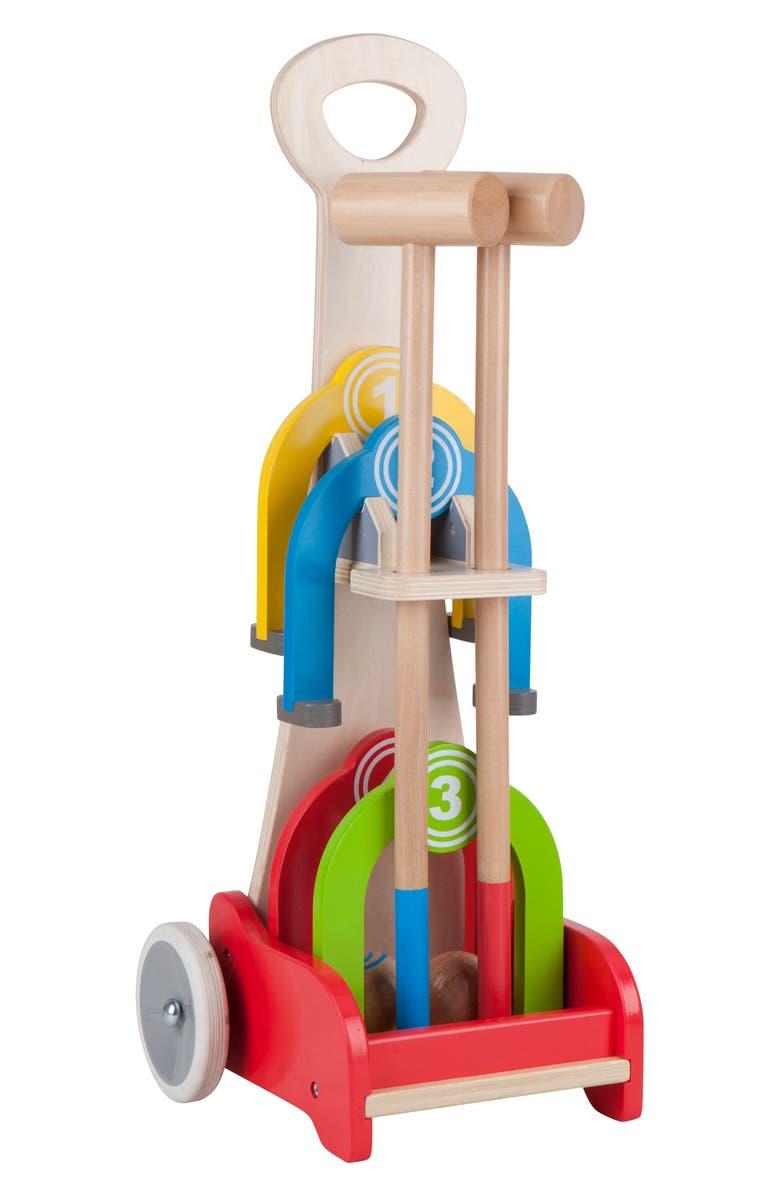 HAPE Rainbow Croquet Caddy Toy Set, Main, color, 600