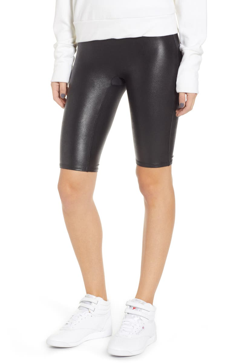 SPANX<SUP>®</SUP> Faux Leather Bike Shorts, Main, color, BLACK