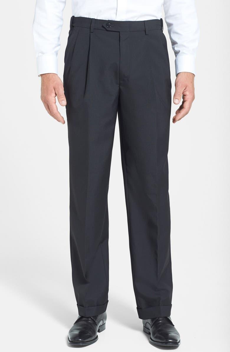 BERLE Self Sizer Waist Pleated Classic Fit Wool Gabardine Trousers, Main, color, BLACK