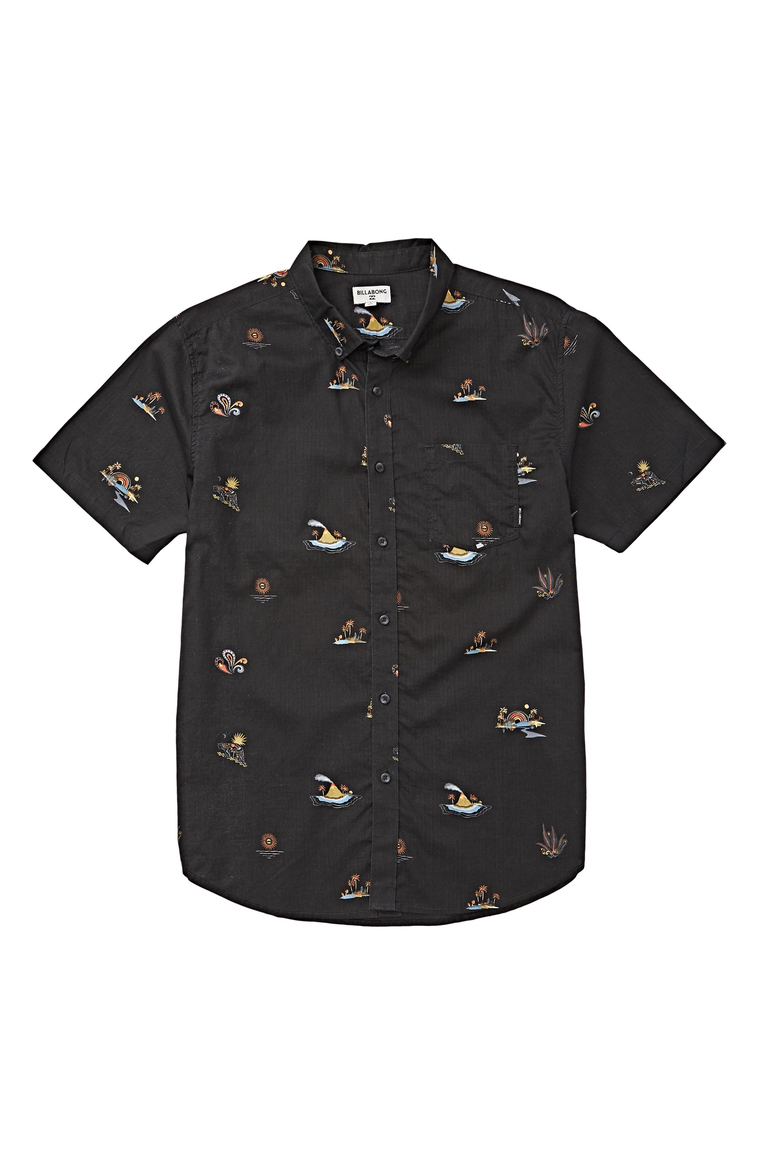 Boys Billabong Sundays Woven ButtonUp Shirt Size XL (1820)  Blue