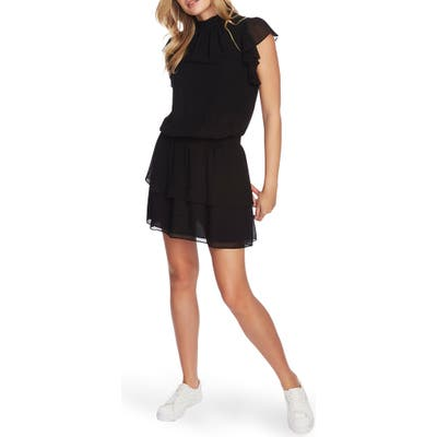 1.state Flutter Sleeve Dress, Black