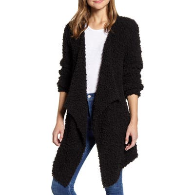 1.state Drape Front Poodle Cardigan, Black