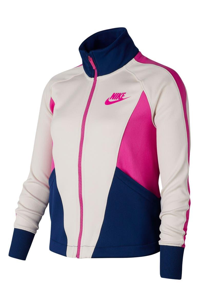 NIKE Sportswear Heritage Full Zip Jacket, Main, color, OREWOOD/ BLUE/ FIRE PINK