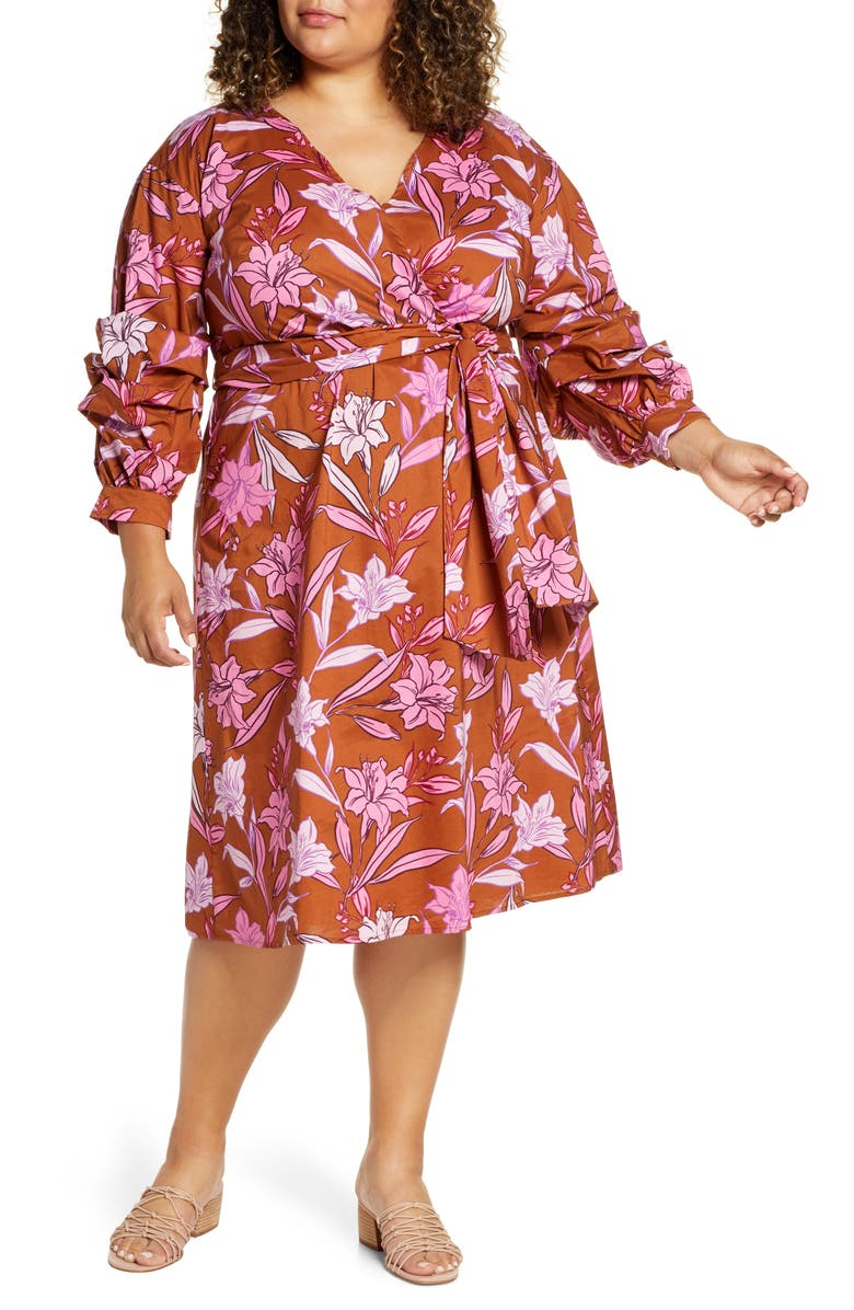 ELOQUII Floral Wrap Dress, Main, color, A PRINT NAMED LILY