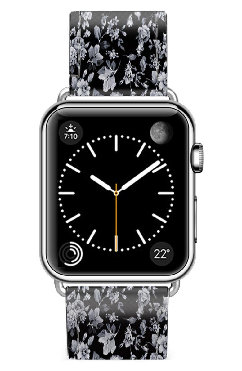 CASETIFY Vintage Flowers Saffiano Faux Leather Apple Watch<sup>®</sup> Strap, Main, color, BLACK/ SILVER
