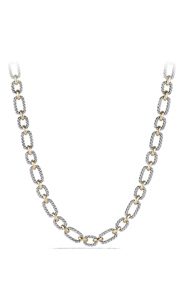 DAVID YURMAN 'Chain' Cushion Link Necklace with Sapphires & 18K Gold, Main, color, SILVER/ GOLD/ BLUE SAPPHIRE