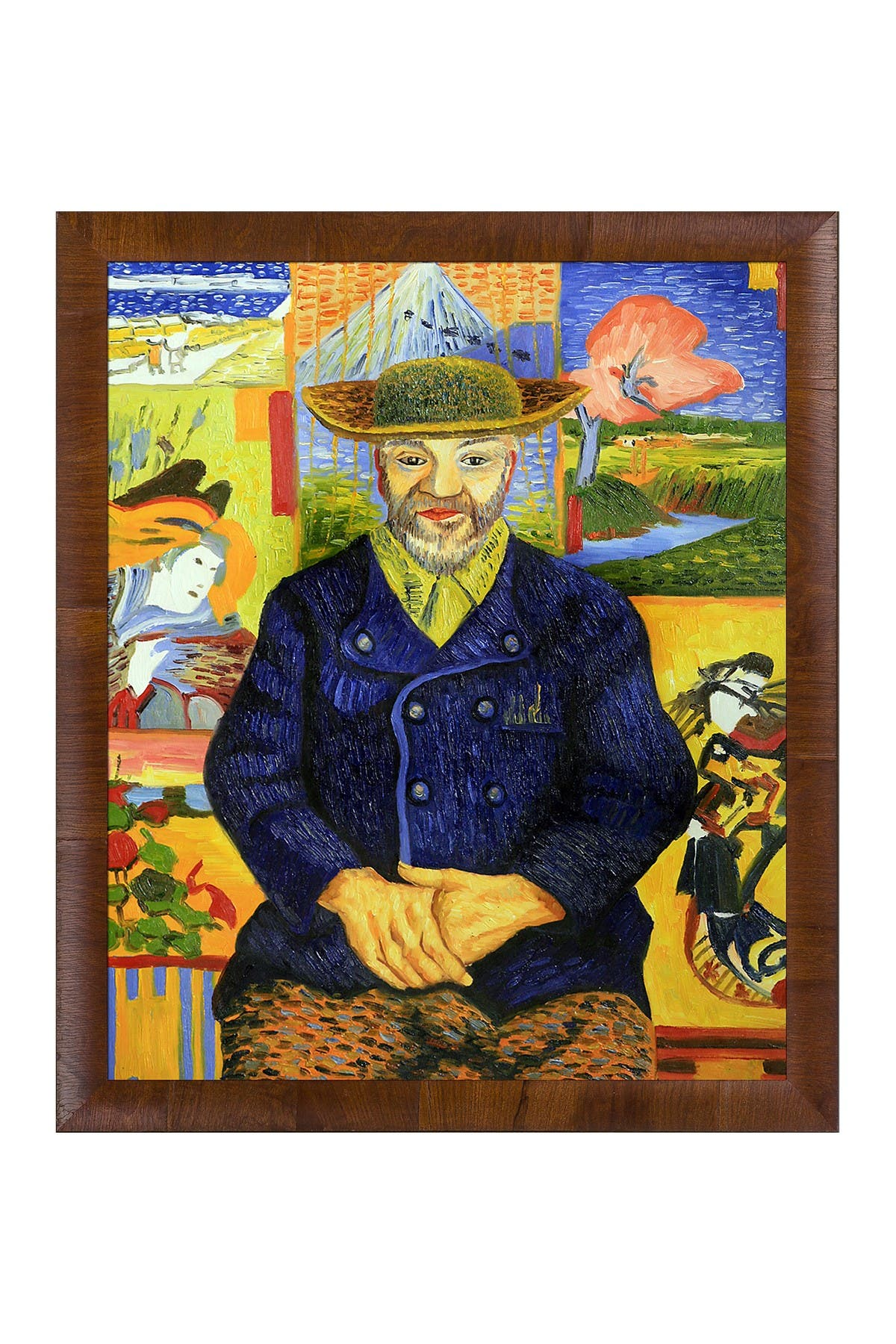 Image of Overstock Art Portrait of Pere Tanguy by Vincent Van Gogh Framed Hand Painted Oil on Canvas