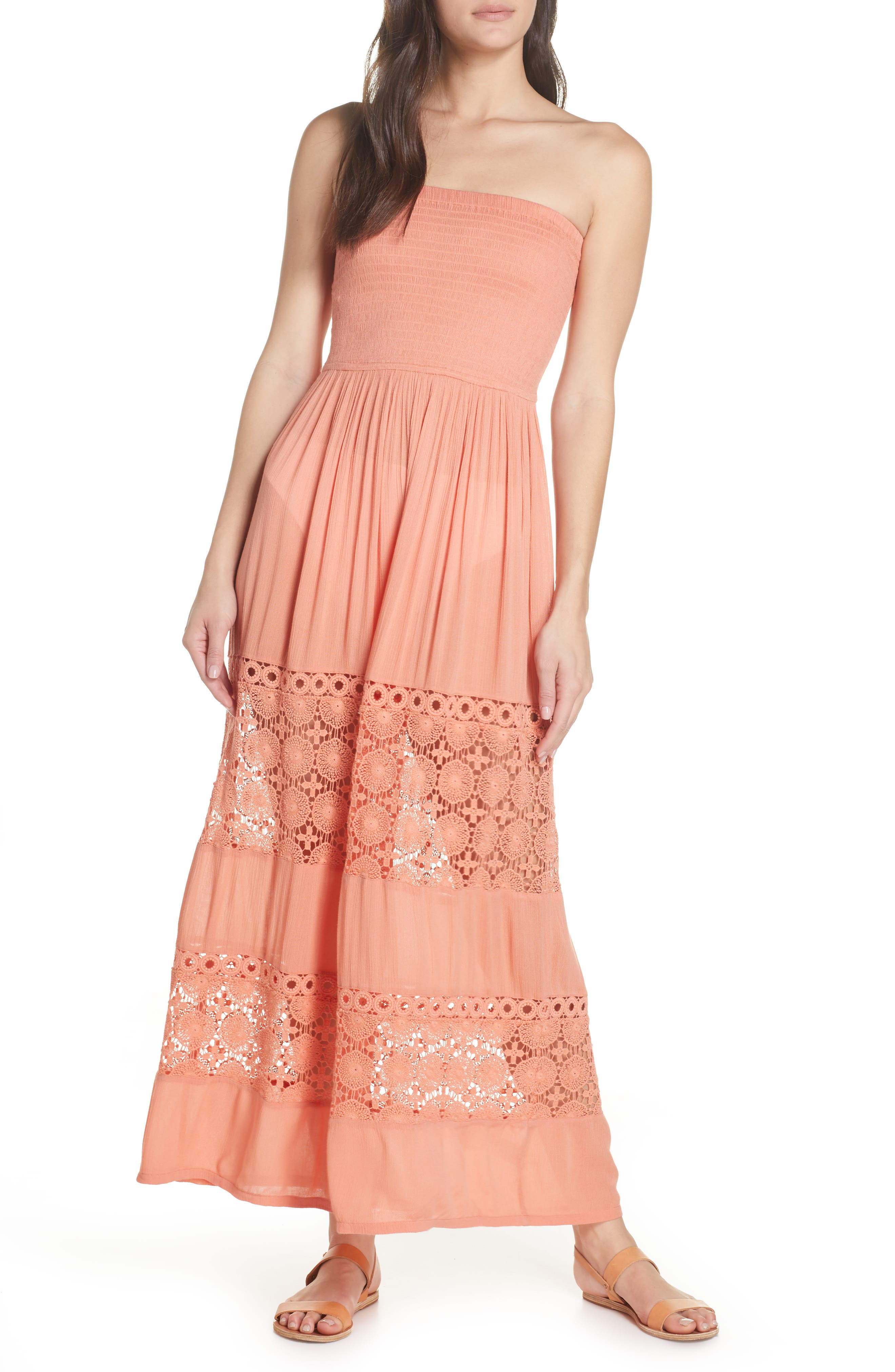 Chelsea28 Farrah Smocked Cover-Up Maxi Dress, Coral
