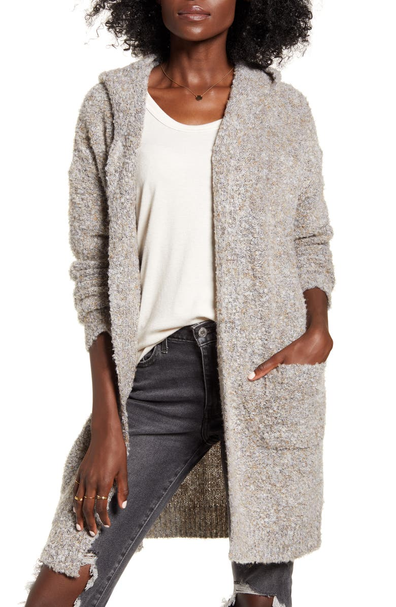 DREAMERS BY DEBUT Hooded Longline Cardigan, Main, color, MOCHA