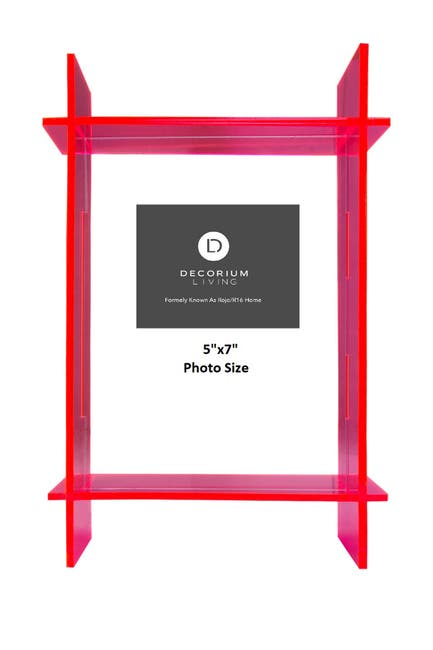"Image of R16 HOME Neon Pink Lucite 5"" x 7"" Frame"