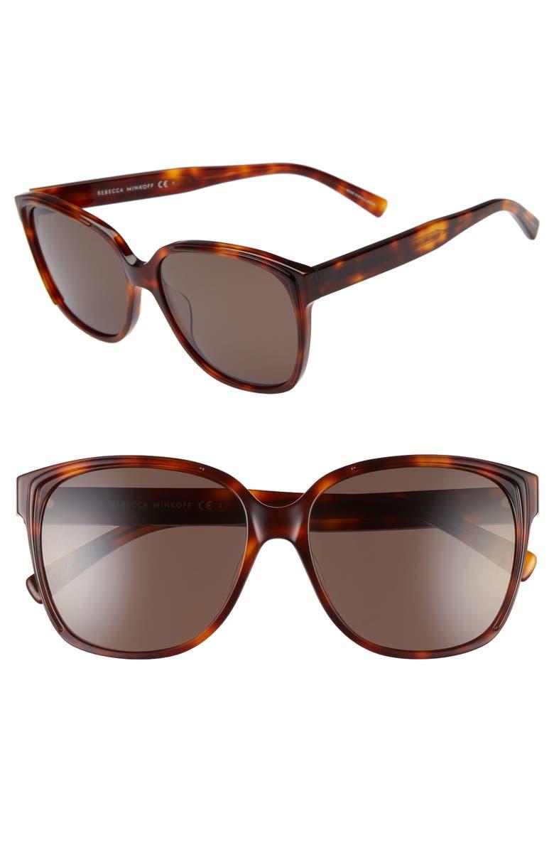 REBECCA MINKOFF Jane 57mm Polarized Square Sunglasses, Main, color, 200