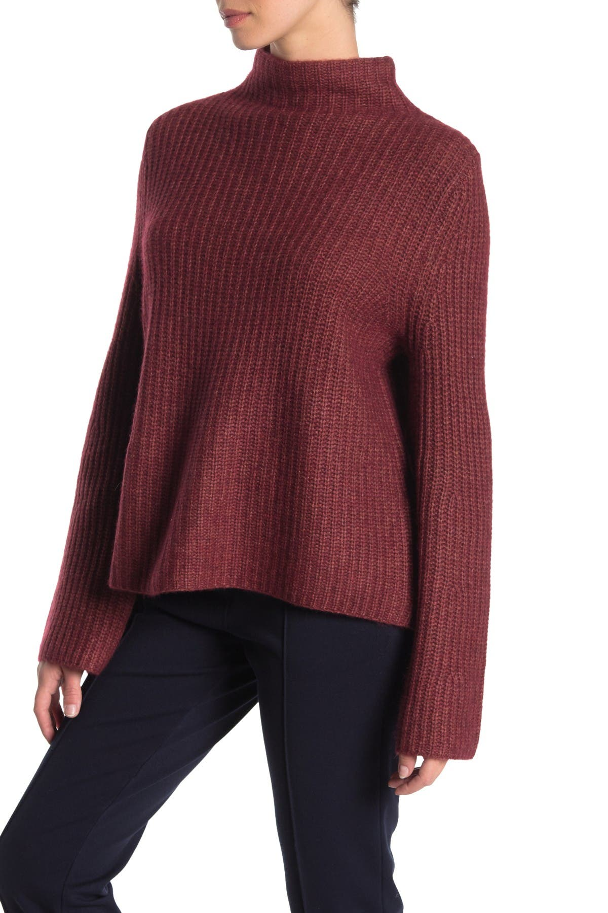 Image of 360 Cashmere Miranda Mock Neck Wool & Cashmere Sweater