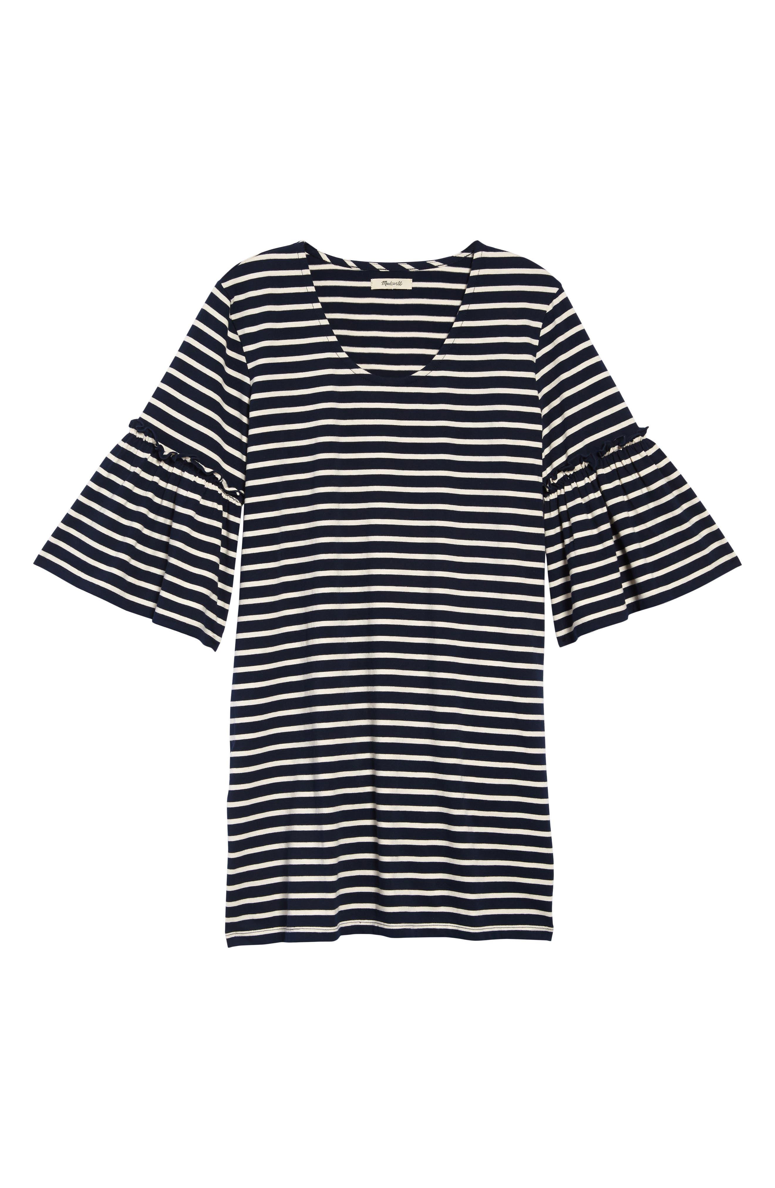 Madewell Stripe Ruffle Sleeve Dress, Blue