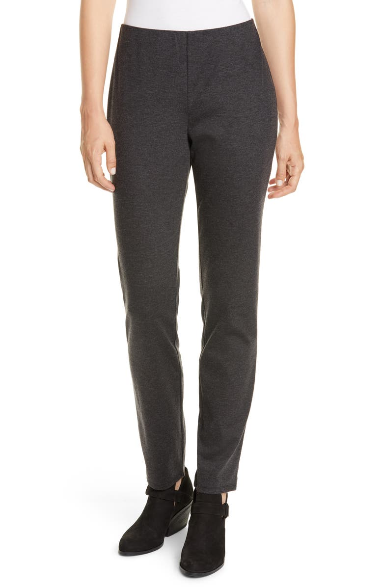EILEEN FISHER Slim Pants, Main, color, CHARCOAL