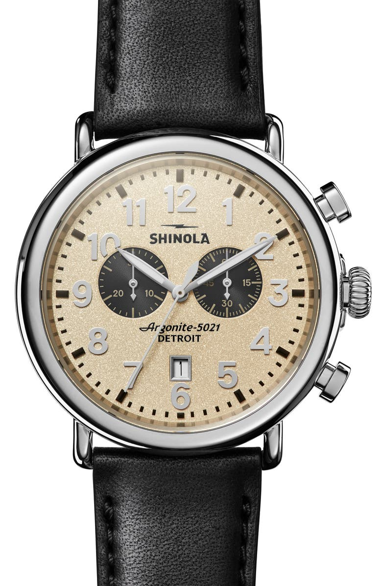 SHINOLA The Runwell Chrono Leather Strap Watch, 47mm, Main, color, BLACK/ CREAM/ SILVER
