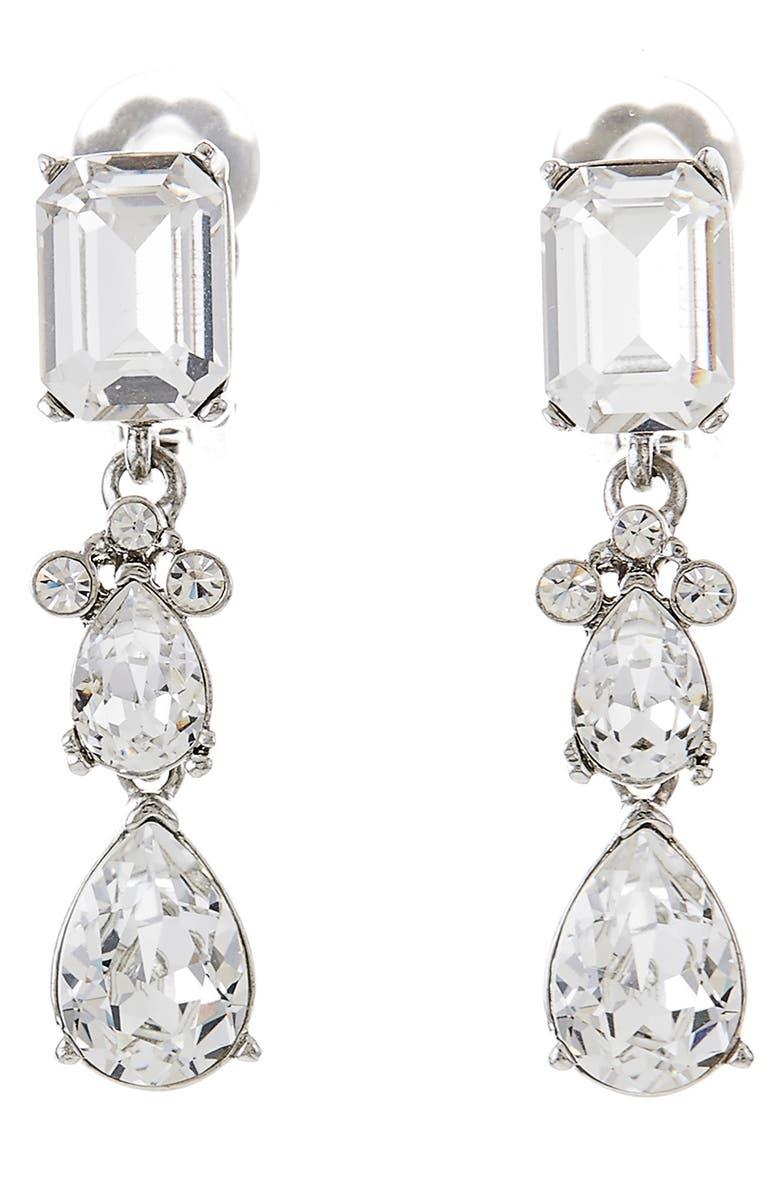 OSCAR DE LA RENTA Small Classic Crystal Drop Earrings, Main, color, CRYSTAL