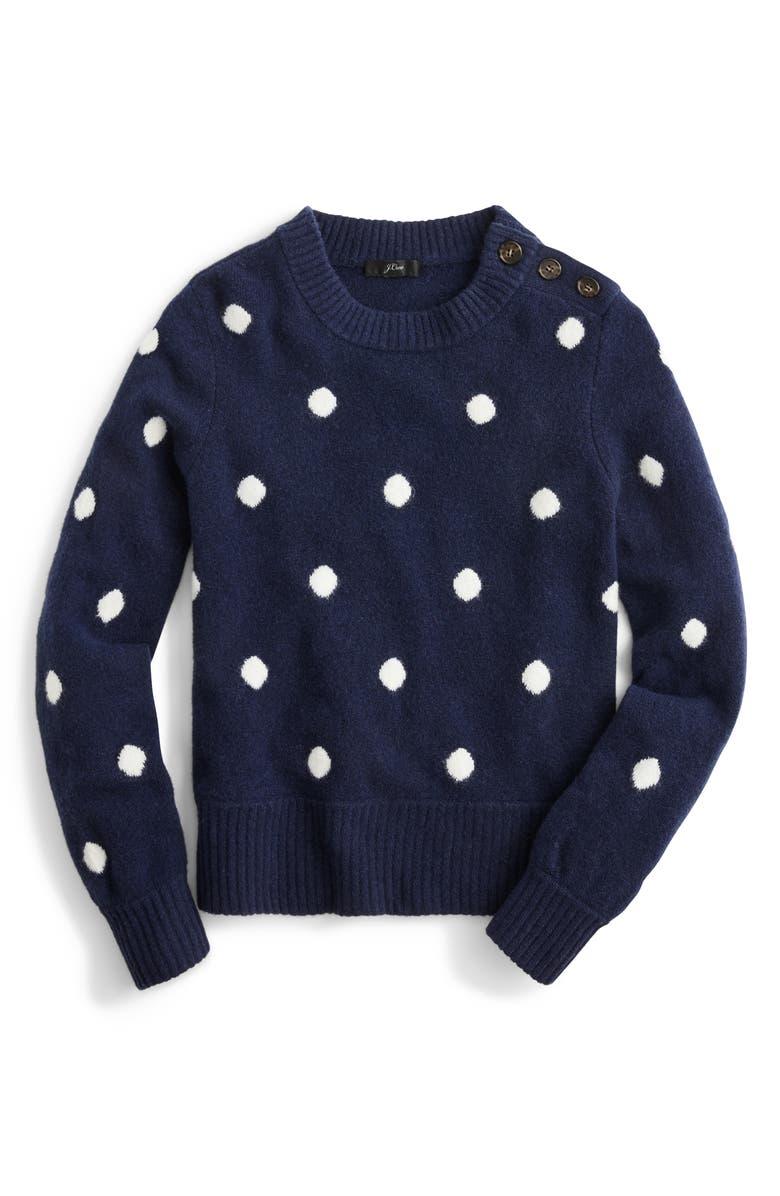 J.CREW Button Detail Supersoft Dot Crewneck Sweater, Main, color, 400