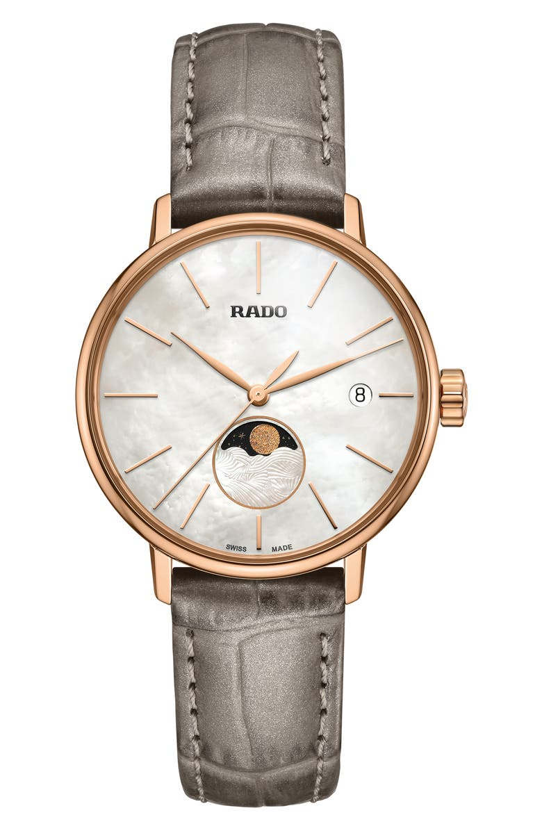 RADO Coupole Classic Leather Strap Watch, 34mm, Main, color, 020