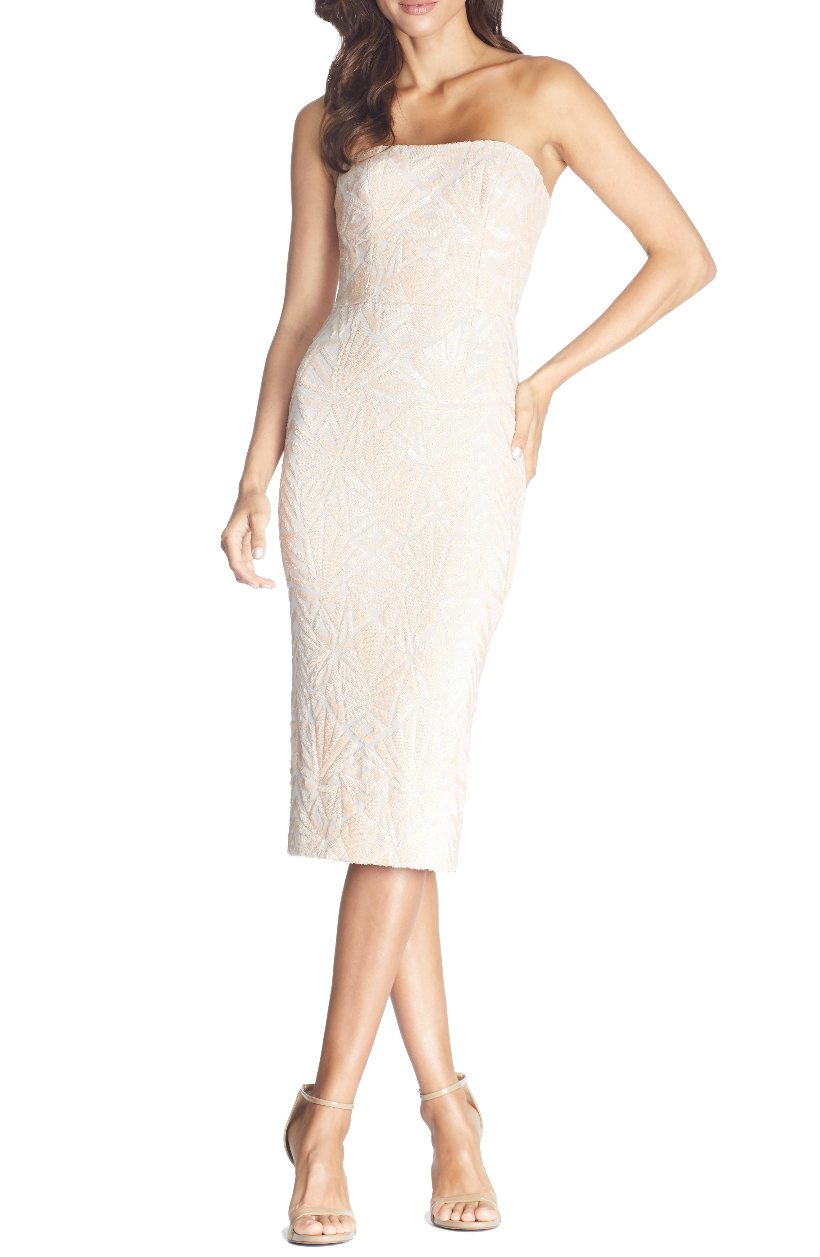 Dress The Population Claire Sequin Strapless Body-Con Dress, Pink