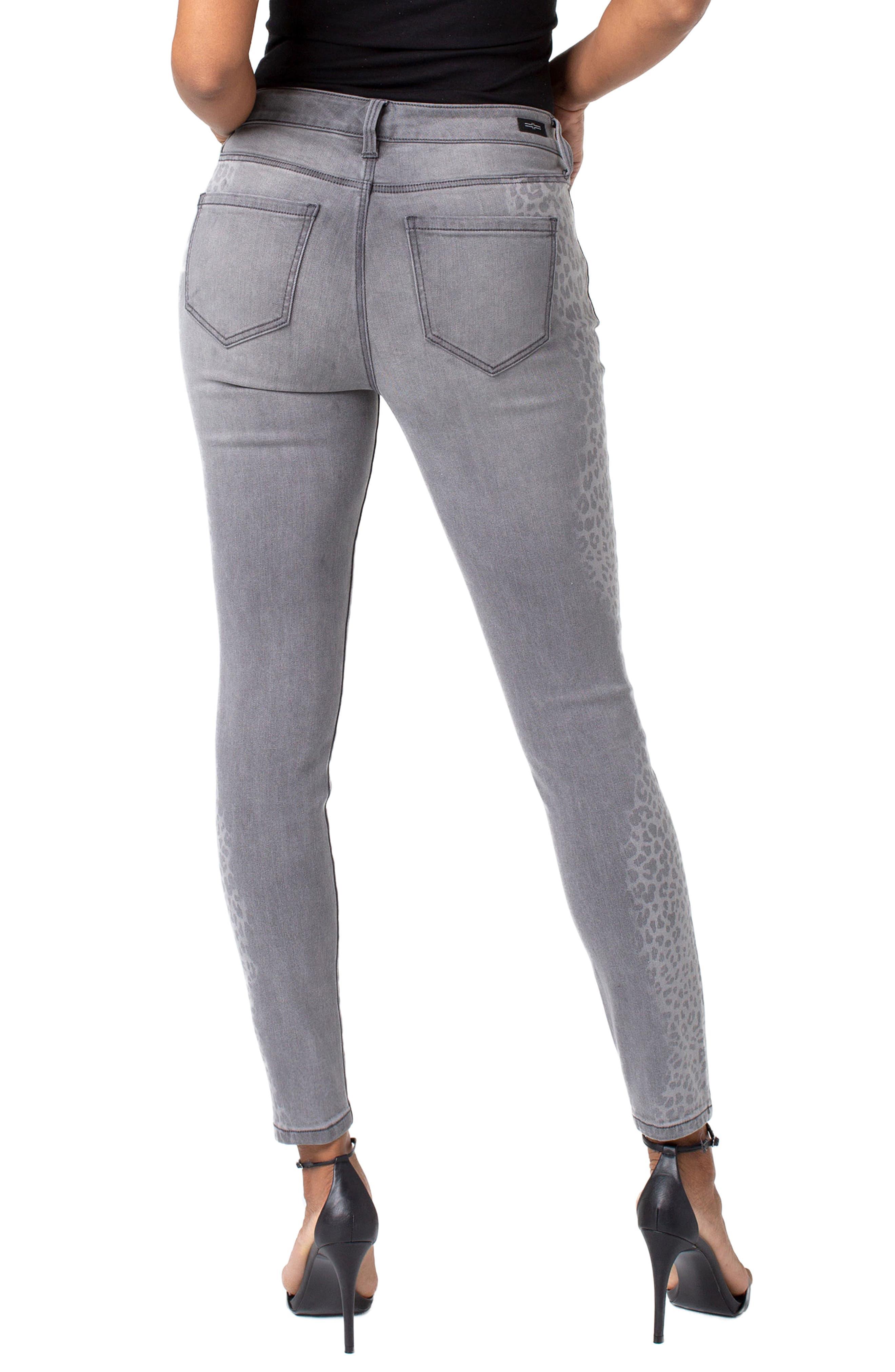 ,                             Abby Side Cheetah Print Ankle Skinny Jeans,                             Alternate thumbnail 2, color,                             ALUMINUM