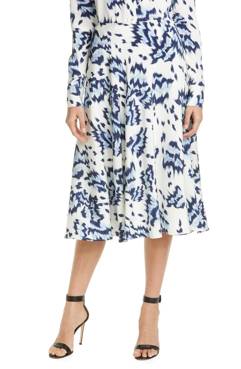 ST. JOHN COLLECTION Painted Butterfly Print Skirt, Main, color, 100