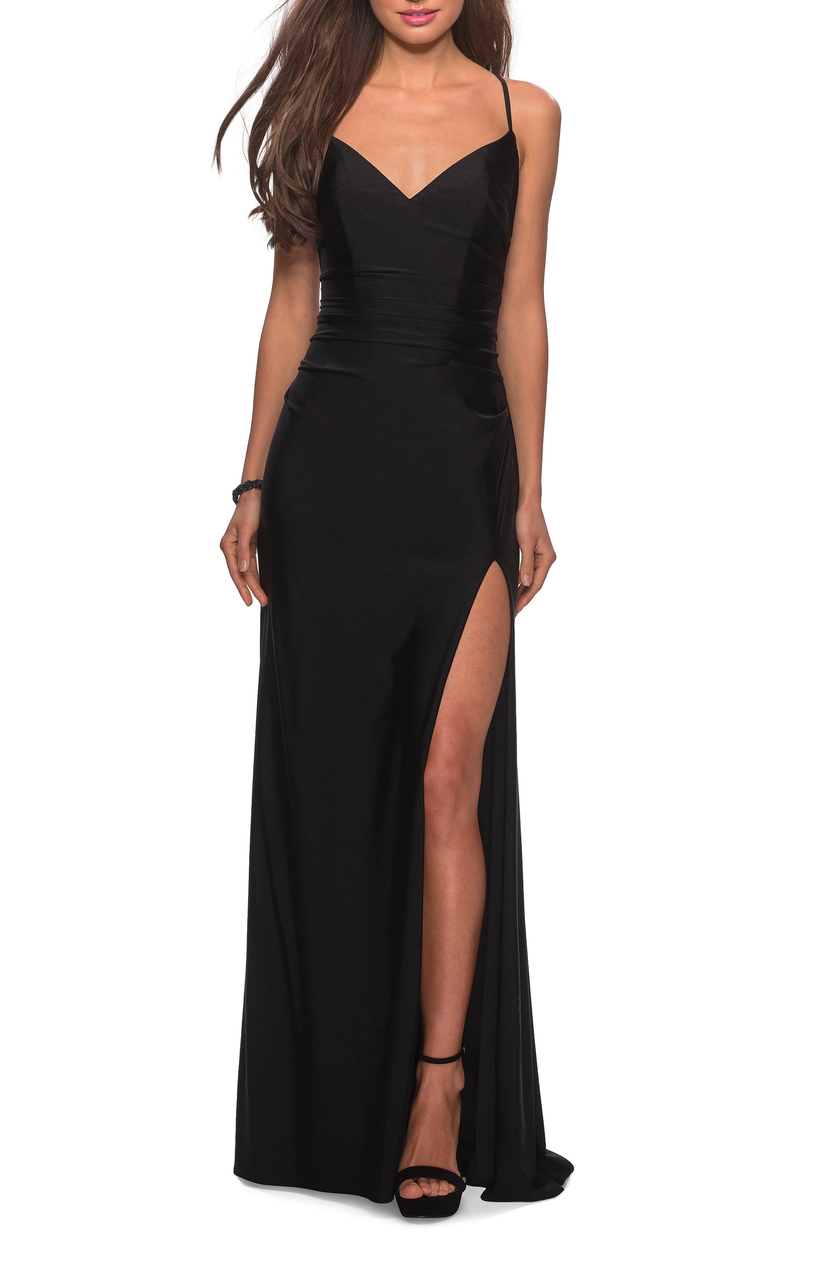 La Femme Cross Back Satin Jersey Gown, Black