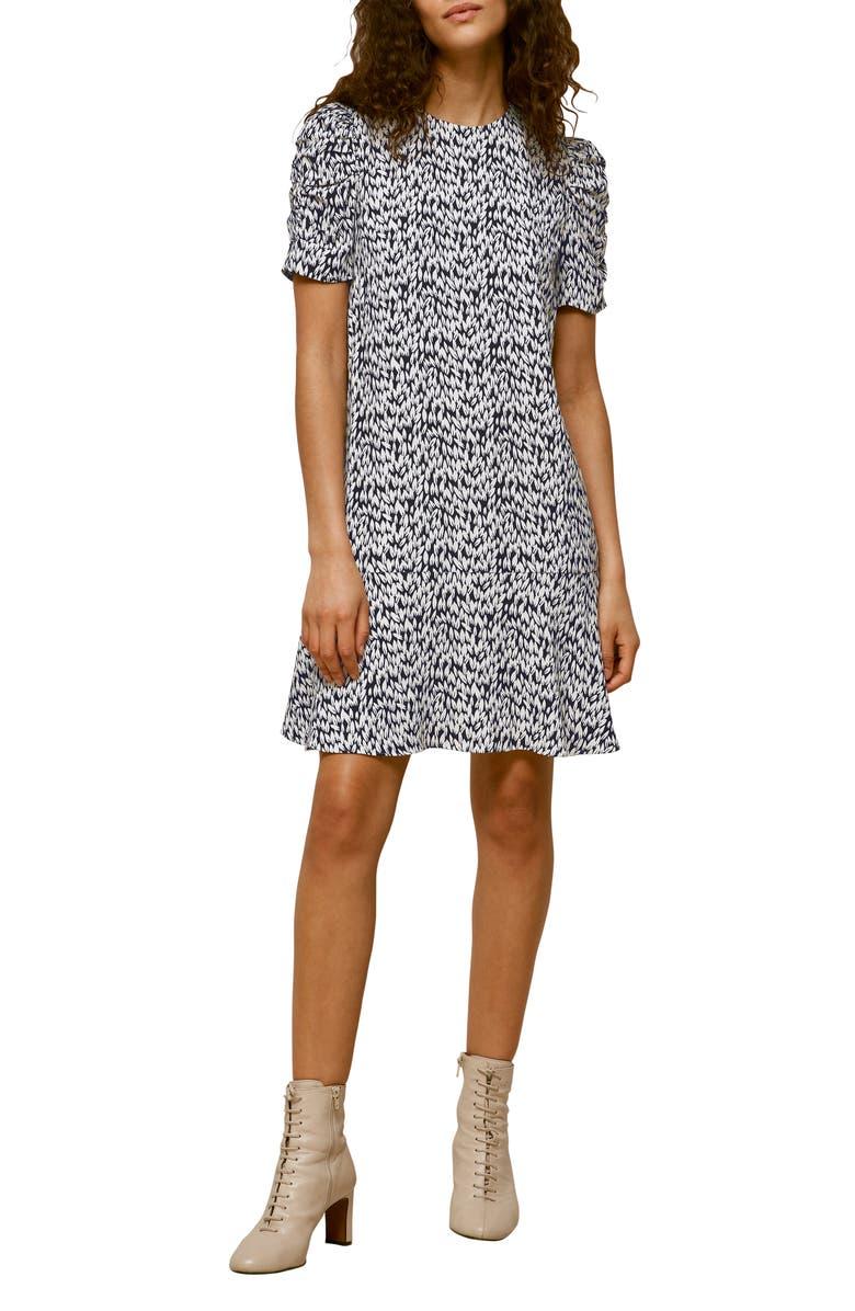 WHISTLES Petal Print Shift Dress, Main, color, BLACK/ MULTI