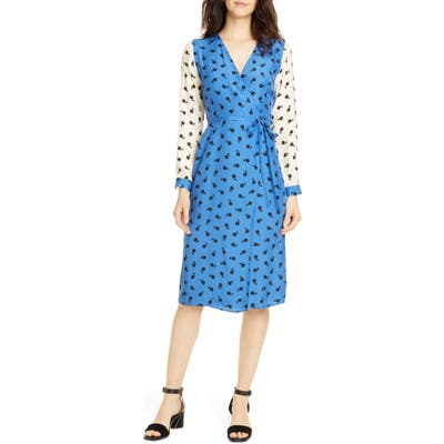 Hvn Julia Long Sleeve Silk Wrap Dress, Blue