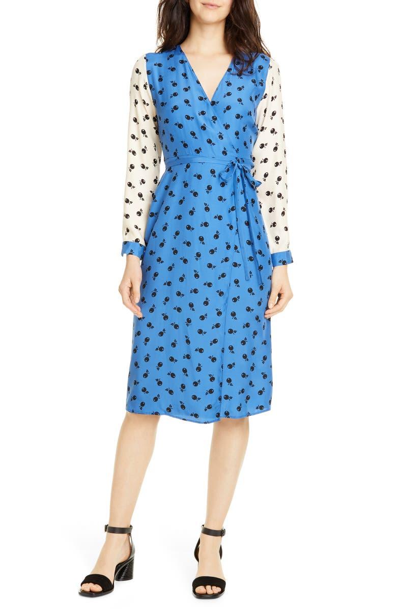 HVN Julia Long Sleeve Silk Wrap Dress, Main, color, COMBO GRAPHIC CHERRY