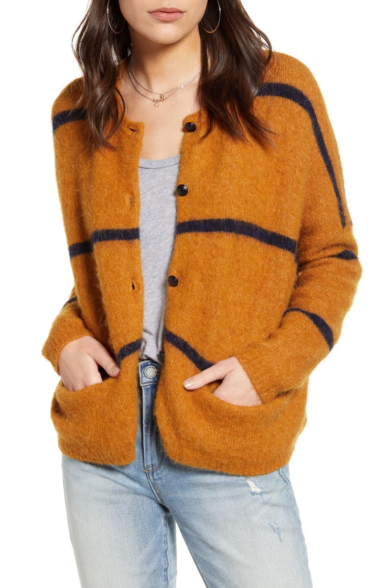 SCOTCH & SODA Front Button Cardigan, Main, color, BROWN