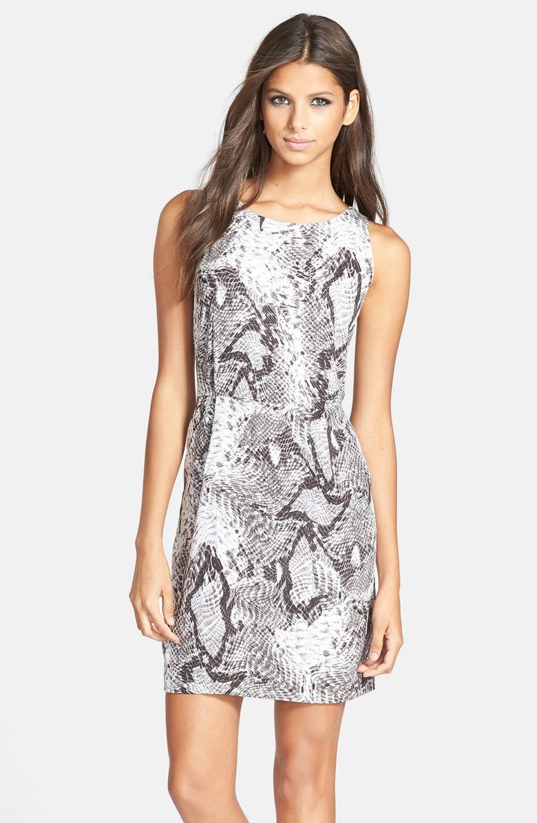 BB DAKOTA 'Vickie' Snakeskin Print Sheath Dress, Main, color, 007
