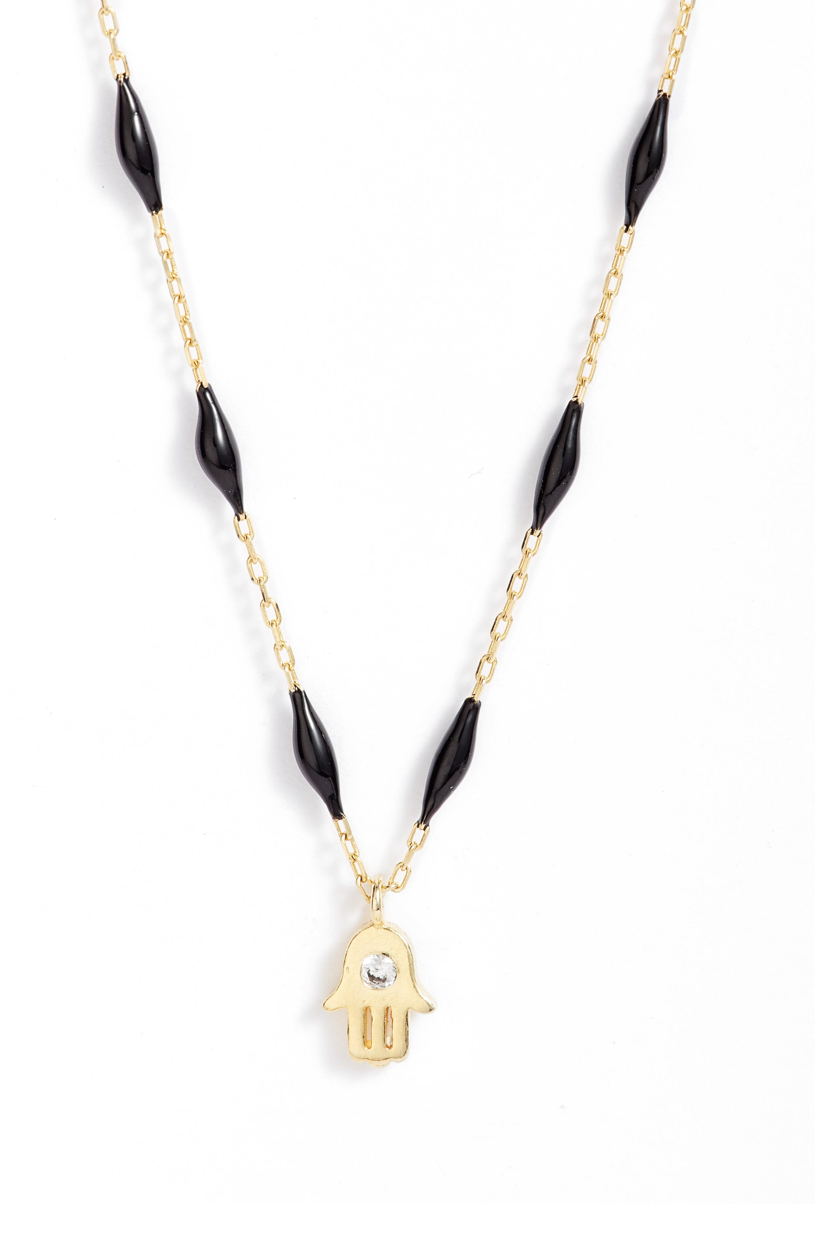 Image of Argento Vivo Sterling Silver Beaded Enamel Hamsa Pendant Necklace