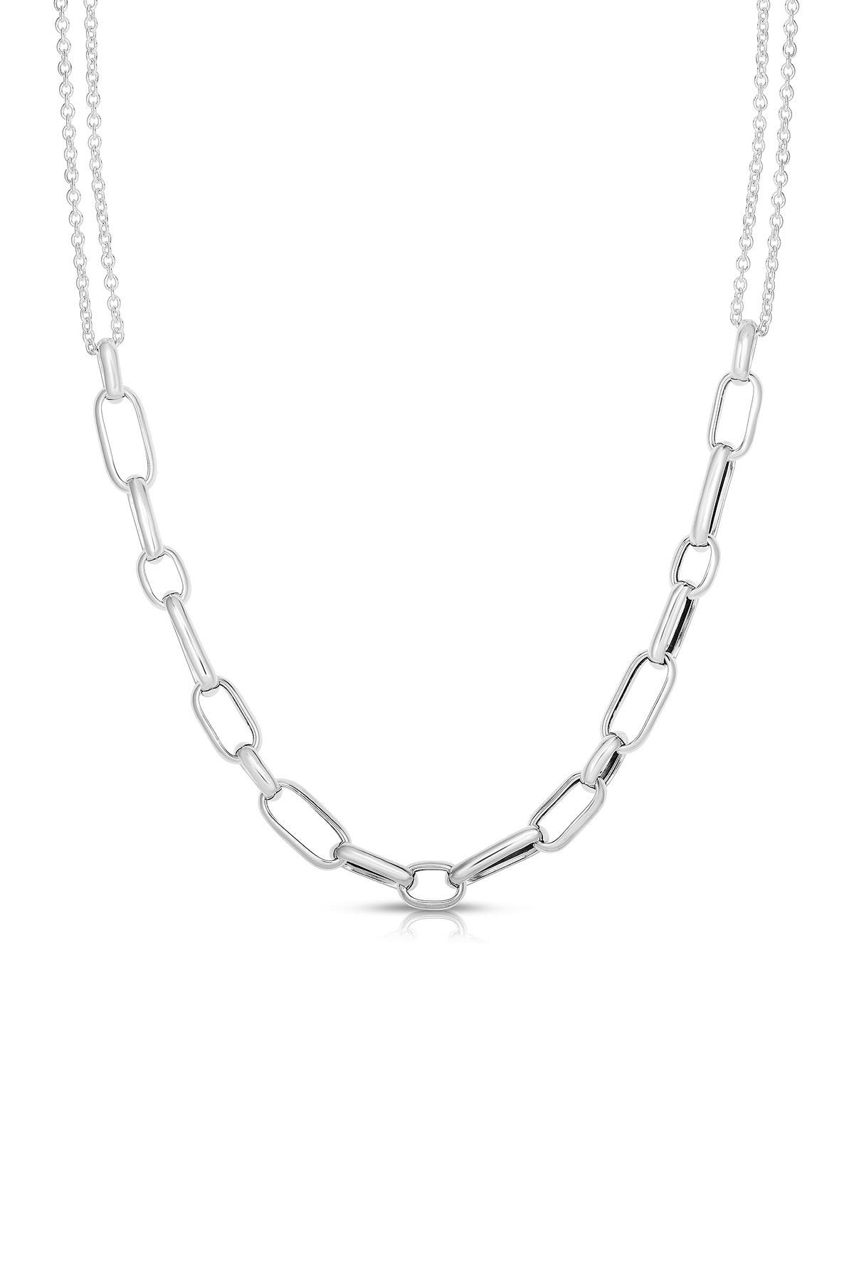 Image of Sphera Milano Rhodium Plated Sterling Silver Chain Necklace