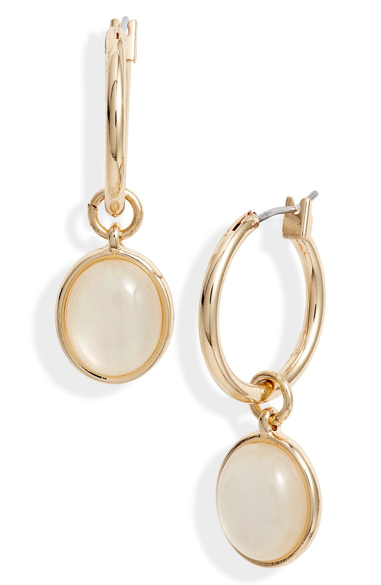 HALOGEN<SUP>®</SUP> Cabochon Drop Hoop Earrings, Main, color, WHITE- GOLD