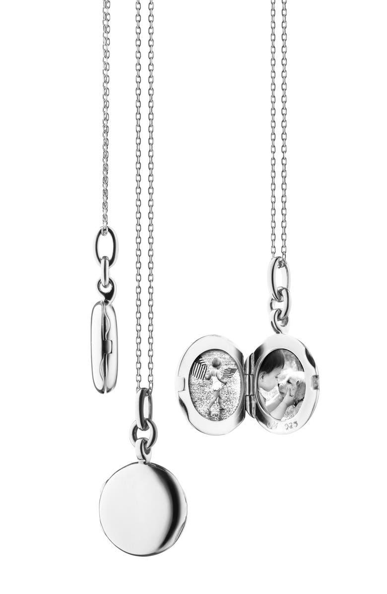 MONICA RICH KOSANN Slim Round Locket Necklace, Main, color, STERLING SILVER