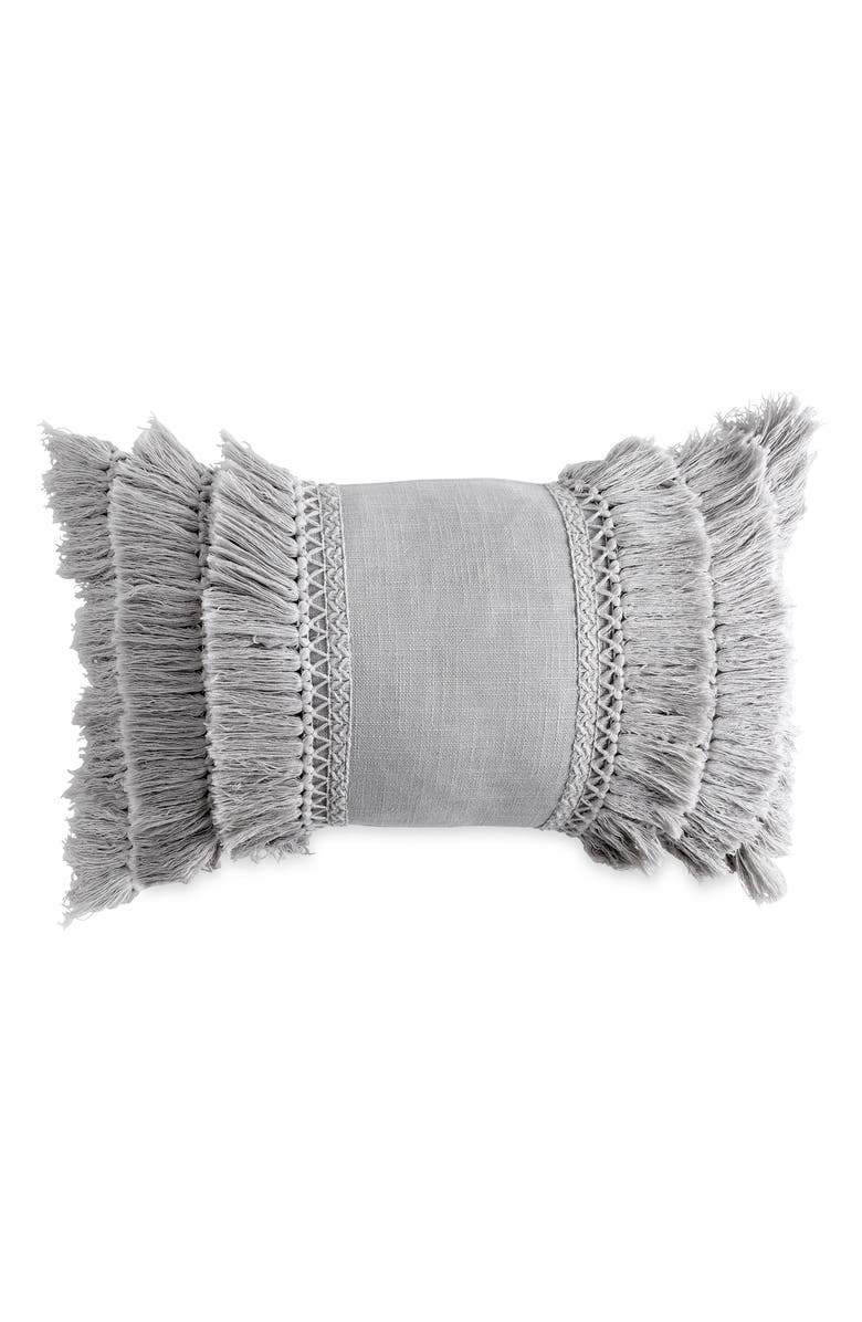 PERI HOME Fringe Pillow, Main, color, GREY