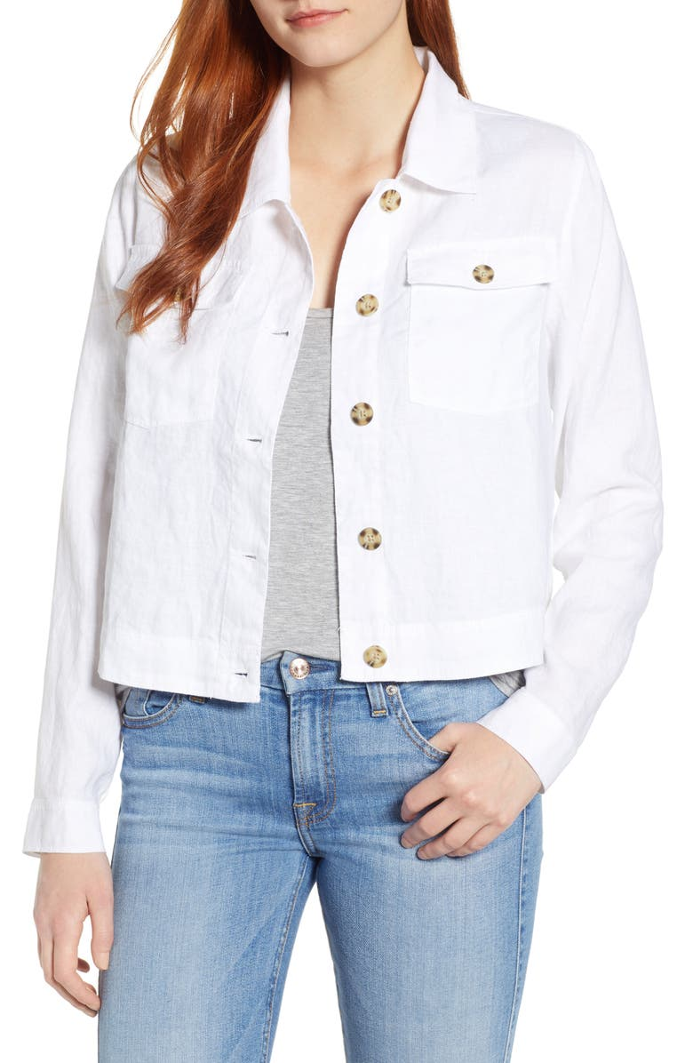 TOMMY BAHAMA Two Palms Crop Jacket, Main, color, WHITE