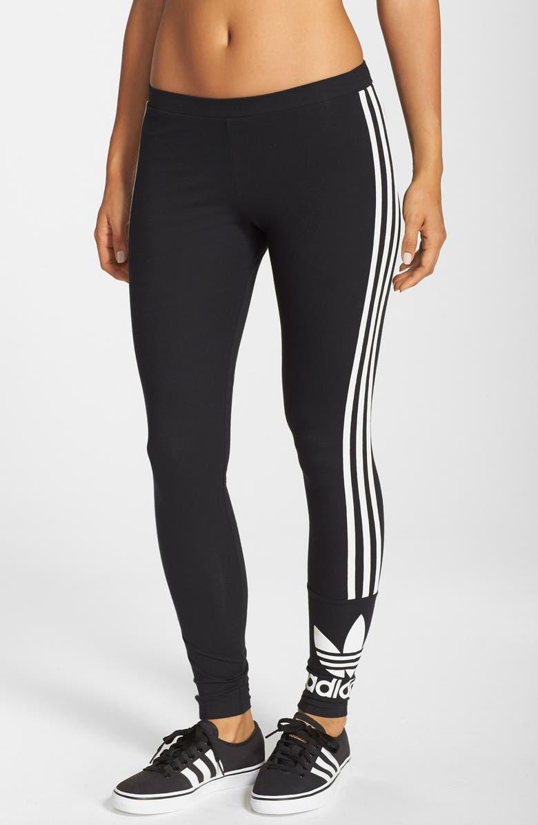 ADIDAS ORIGINALS '3-Stripes' Stretch Cotton Leggings, Main, color, 001
