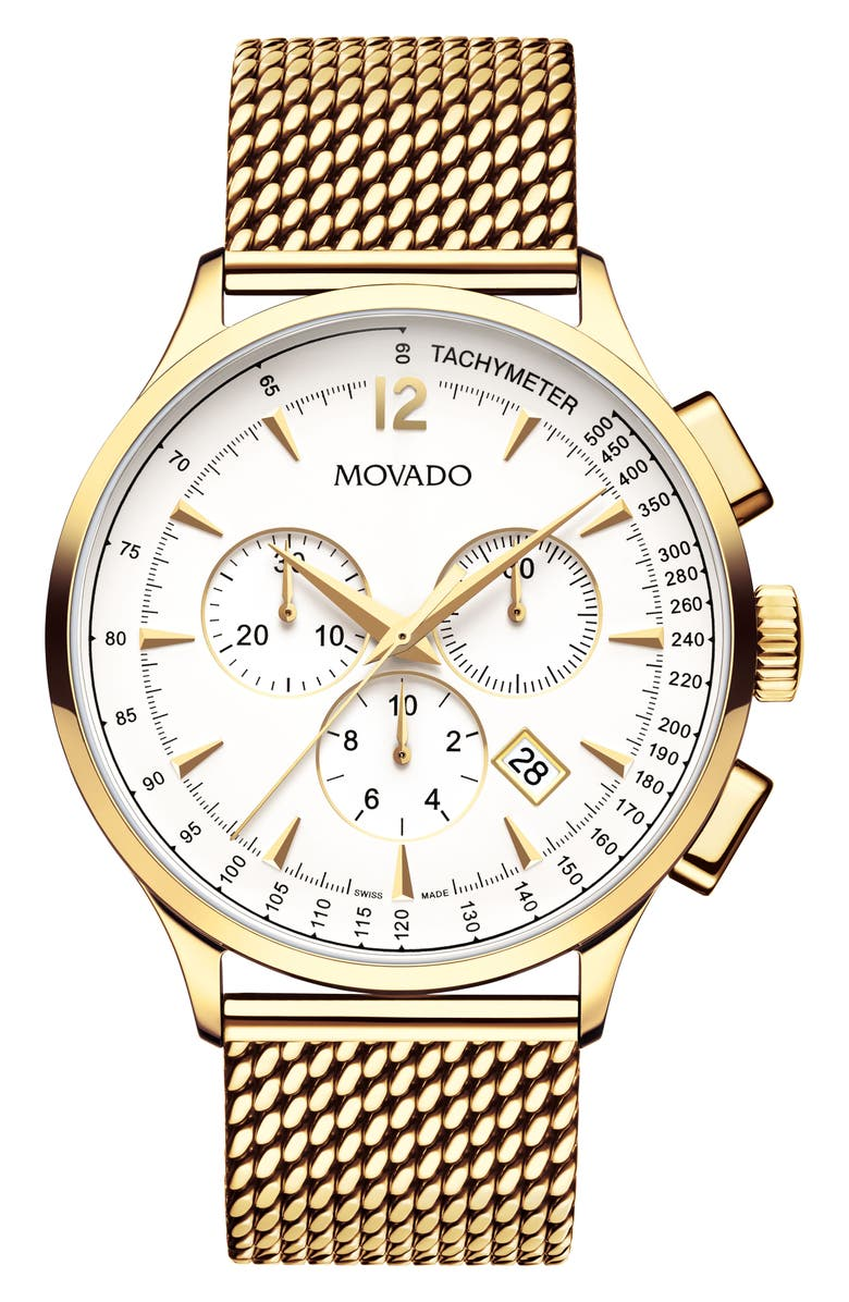 MOVADO 'Circa' Chronograph Mesh Strap Watch, 42mm, Main, color, GOLD/ WHITE/ GOLD