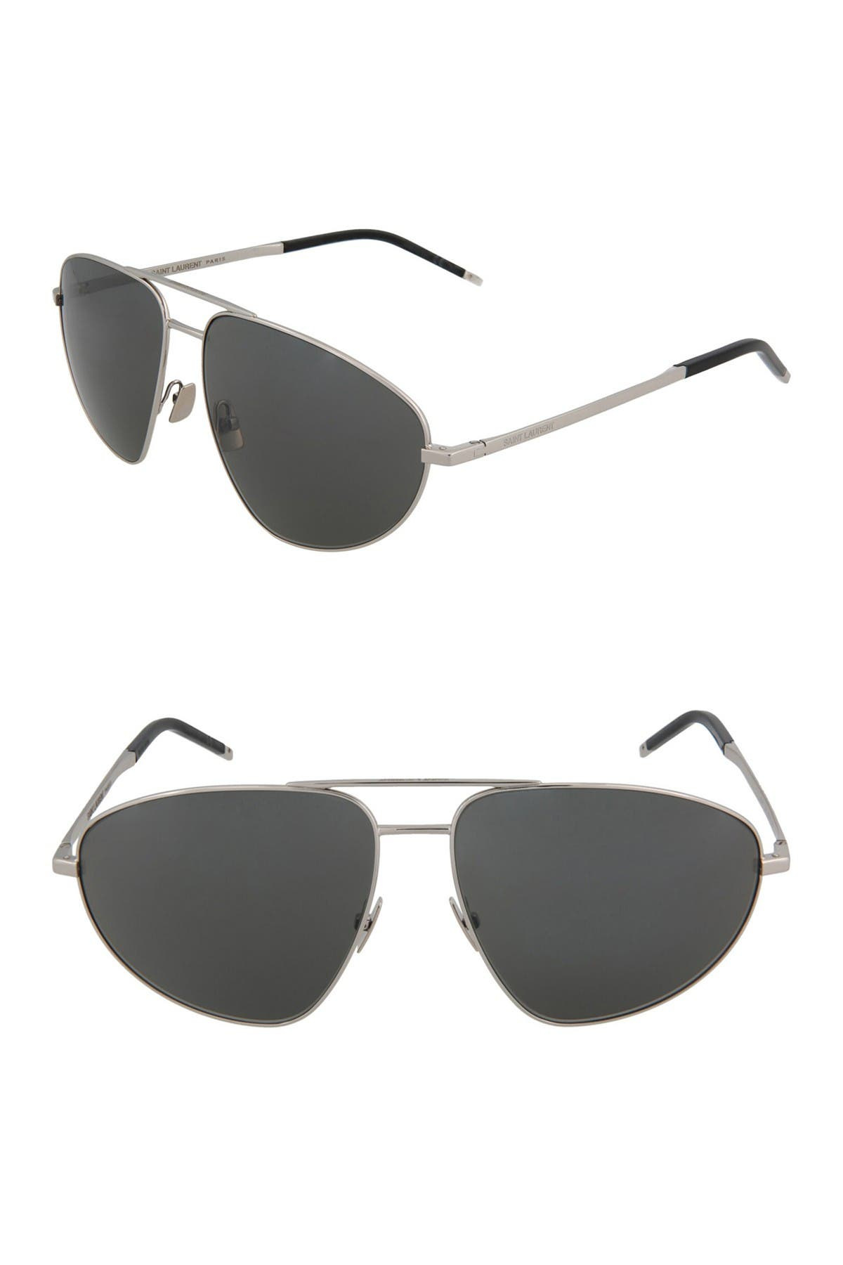 Image of Saint Laurent 60mm Modified Aviator Sunglasses
